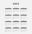 2022 year calendar vertical design vector image vector image