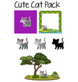 a pack cute cat vector image vector image