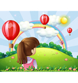 A young lady watching the floating balloons and vector image
