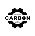 activated carbon logo with gear shape and form vector image vector image