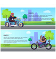 bike work day annual event web posters set promo vector image vector image