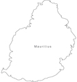 Black White Mauritius Outline Map vector image