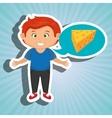 boy cartoon cheese sliced food vector image