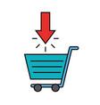 cart market click arrow online shopping vector image vector image