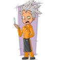 Cartoon crazy haircutter in orange vector image vector image