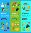 cartoon healthy food signs color banner vecrtical vector image vector image