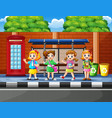 cartoon of school children in the bus stop with a vector image vector image