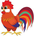 cartoon red rooster vector image vector image