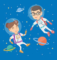 caucasian astronaut kids in suits flying in space vector image