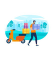 character postman courier with parcel on motorbike vector image vector image
