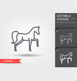 circus horse line icon with editable stroke vector image