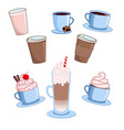 coffee cups set various cute cafe drinks vector image