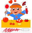Color game girl with red objects vector image vector image