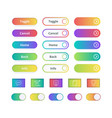 colored gradient buttons game or website ui vector image