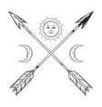 crossed arrows with crescents and full moon vector image vector image