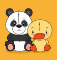 cute bear panda and duck characters vector image vector image