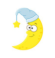 cute cartoon moon in the hat with star vector image vector image