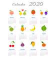 cute fruit characters calendar 2020 vector image vector image