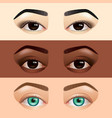 different ethnicity women eyes asian caucasian vector image