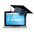 Distance learning - laptop and academic hat vector image vector image