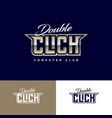 double click club emblem computing game club logo vector image vector image