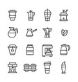 editable stroke line art coffee house icons vector image