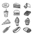 fast food sketch icons donut piece layer cake vector image
