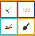flat icon farm set of wooden barrier trowel lawn vector image vector image