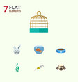 flat icon pets set of bird prison fishbowl bunny vector image vector image