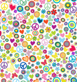 Flower power background seamless pattern with vector image