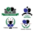 four table tennis emblems or badges vector image vector image