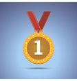 Gold award medal with red ribbon vector image vector image