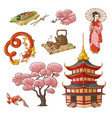 hand drawn japanese culture elements symbols vector image vector image