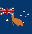 kangaroo with australian national flag flat design vector image