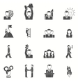 Leadership black white icons set vector image vector image