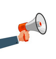 loudspeaker or megaphone in hand advertising vector image vector image