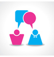 Male and female icons with dialog speech bubbles s vector image vector image