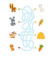 maze game for children horse rabbit dog hamster vector image vector image