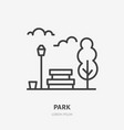 park flat line icon thin sign of bench