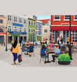 people sitting in outdoor cafe vector image