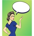 Pop art retro style woman point hand sign with vector image vector image