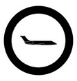private airplane black icon in circle vector image vector image