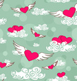 Seamless pattern of flying heats at the sky vector image vector image