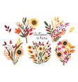 set autumn bouquets isolated on a white vector image