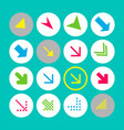 set of 16 arrow icons with south-east direction vector image vector image