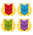 set of knight flag with laurel and symbol vector image vector image