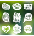 set sale lettering in comic speech vector image