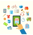 Shopping e-commerce hand concept vector image vector image
