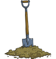 shovel in the ground vector image vector image