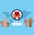 stop racism international day poster with hands vector image vector image